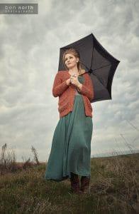 Retro fashion lifestyle photo shoot in a rain storm.
