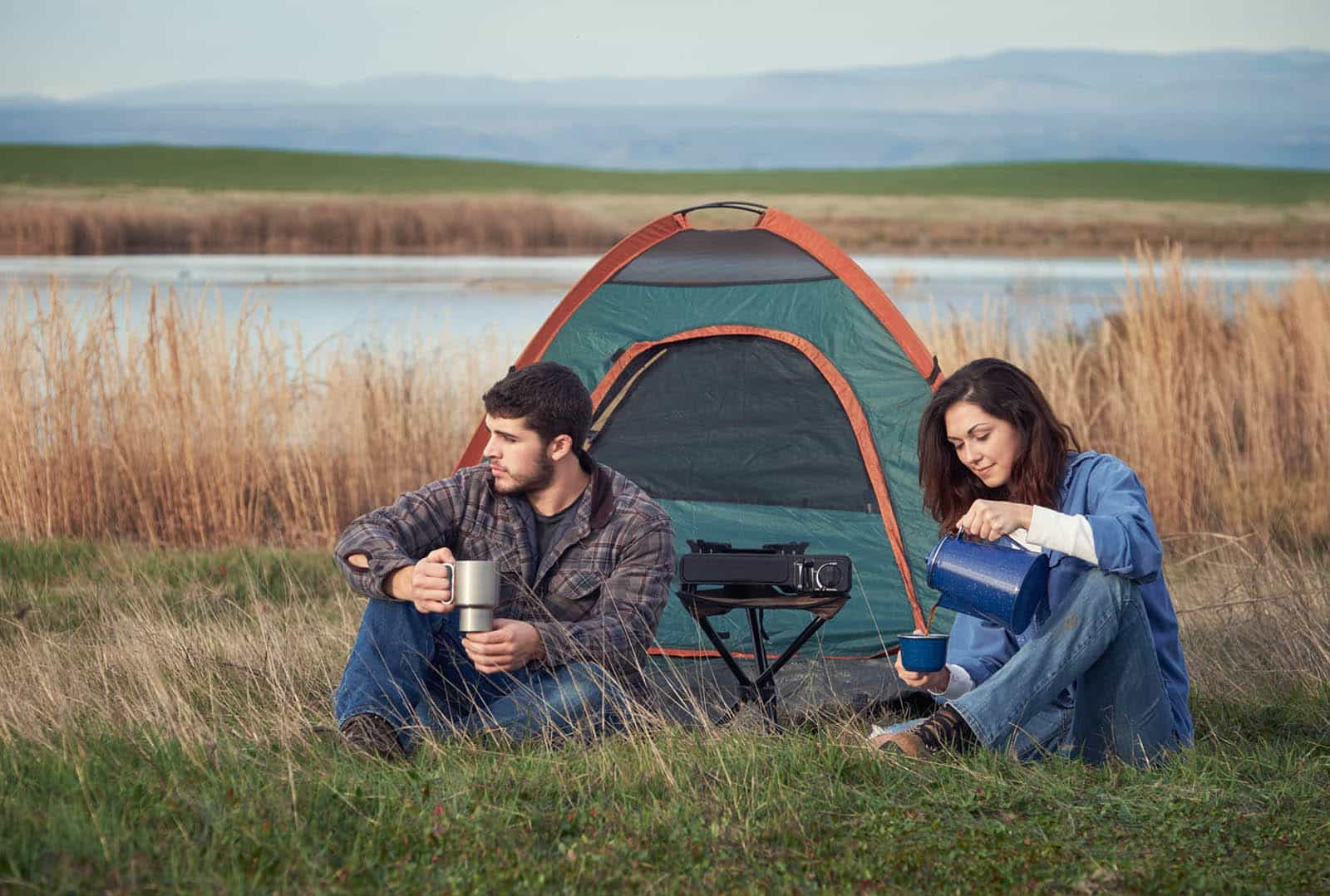 Morning coffee on a camping trip.