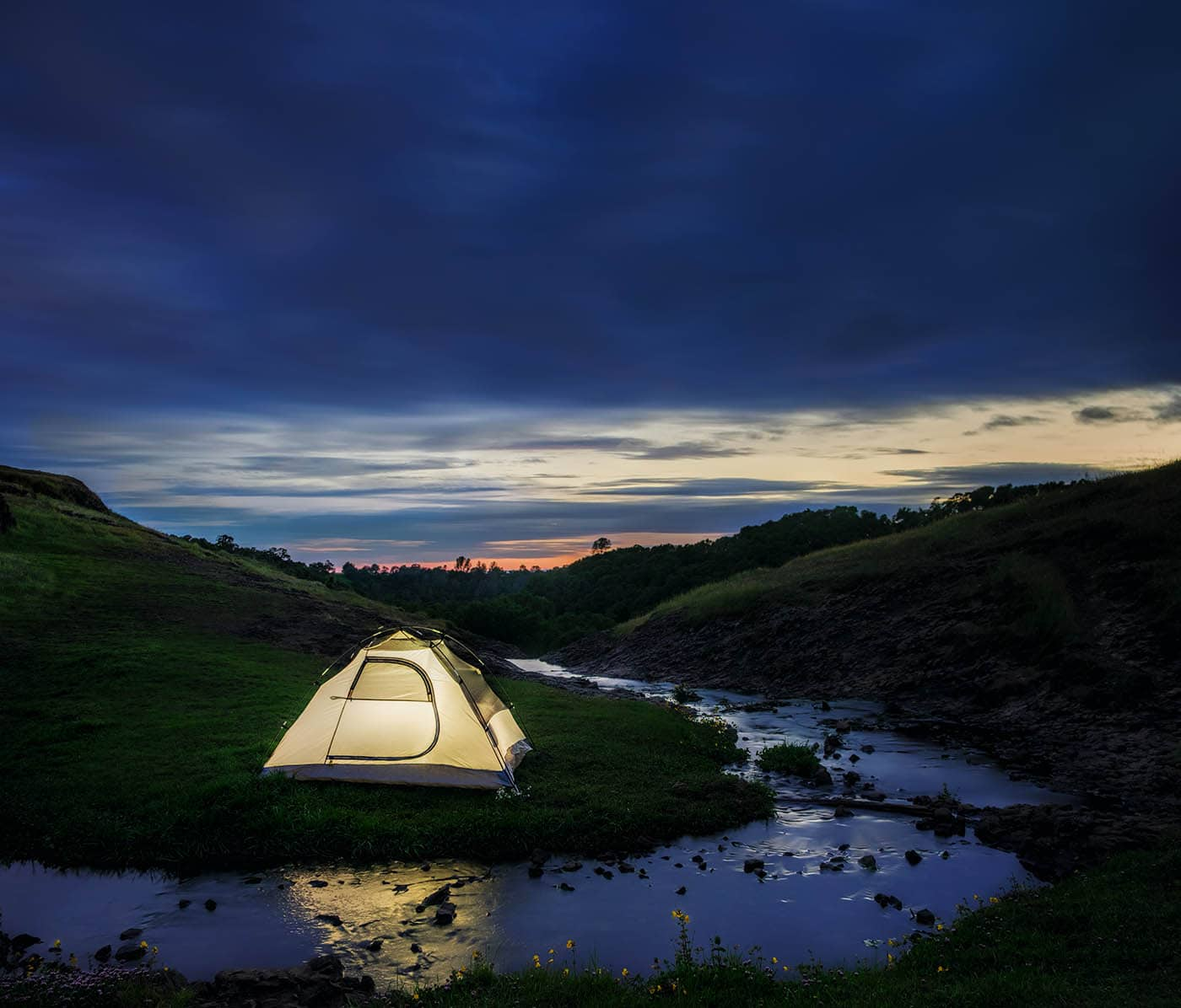 Camping by a Mountain Stream.