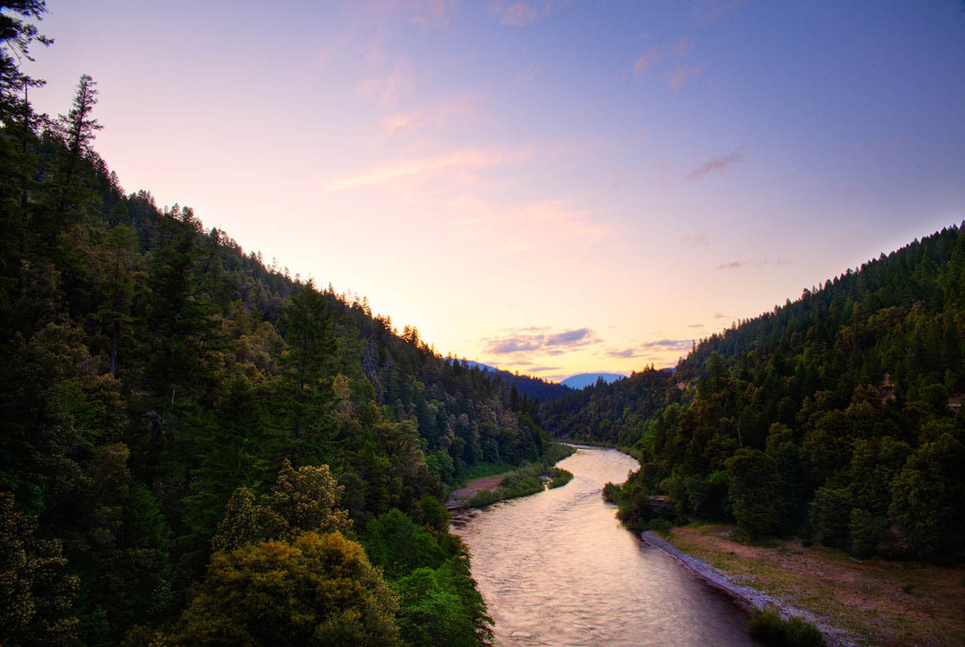 Mountain River in Northern California at sunset.
