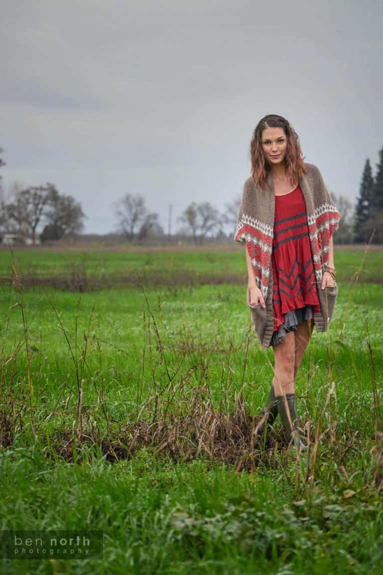 Walking through a field in a rural Northern California on a rainy day.