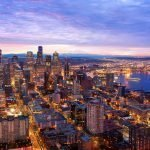 Seattle skyline in the early morning before sunrise.
