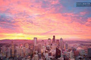Seattle, Washington cityscape at sunrise.